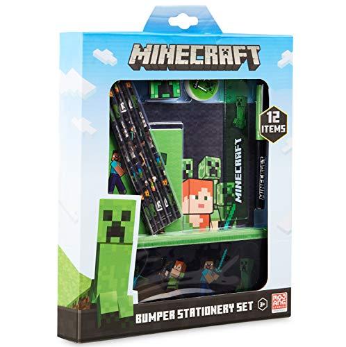 Minecraft Schulsachen, Stifte Set mit Federtasche Junge, Notizhefte, Buntstifte Kinder, Radiergummi, Spitzer, Kugelschreiber
