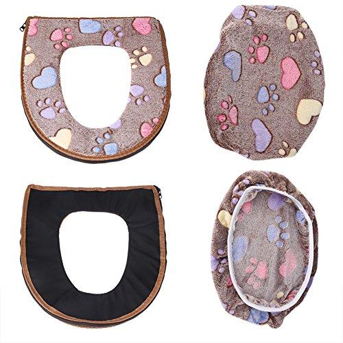 2PCS/set coprisedile WC + coperchio Warmer set in pile corallo a forma di U, cuscino per sedile WC, tappetino da bagno decorazione Coffee