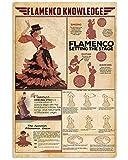 Imagen de estilo bailando flamenco, vestido rojo flamenco de la pared de la señora, cartel de baile flamenco #español, arte de la pared de bailarines flamencos, sin marco, póster de 11 x 17 pulgadas