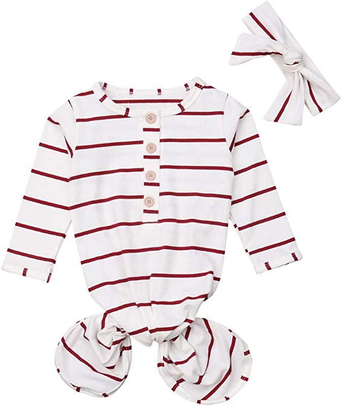 COLOOM Newborn Baby Girls Boys Gown Knotted Sleeping Bag Infant Organic Striped Sleeper With Headband
