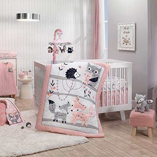 Lambs & Ivy Forever Friends 4-Piece Nursery Crib Baby Bedding Set - Blue, Pink