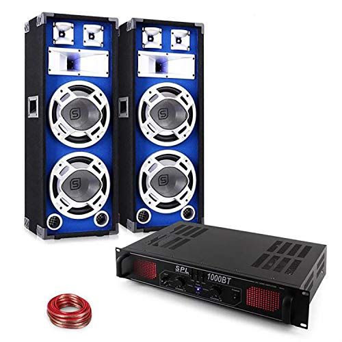PA Set Blue Star Series Basssound Bluetooth 1000W Party Lautsprecher & Verstärker Set (Bluetooth, USB-SD-Slot, Boxen mit LED-Lichteffekt, Radio, inkl. 10m Lautsprecherkabel)