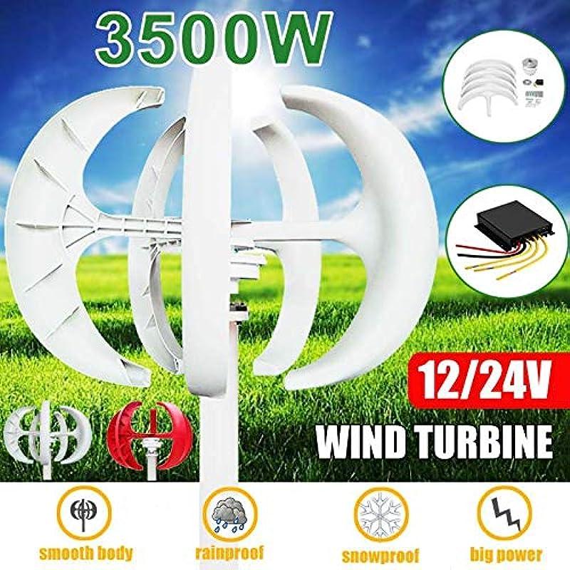 カプセルファントム闇3500W 5ブレード風力タービンキット12/24 V垂直ブレード+ホーム街路灯用コントローラー,白,12V