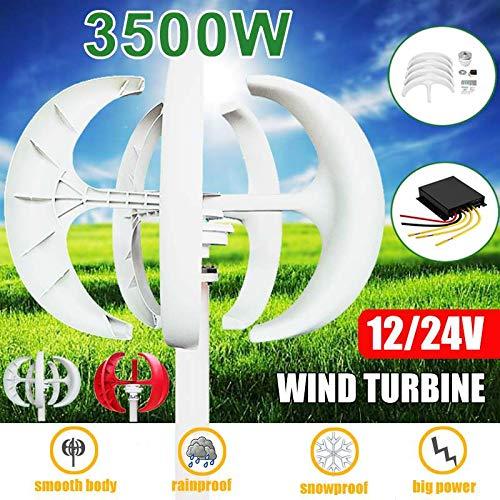 3500W 5 Blade Wind Turbine Red White Flashlight Option Motor Kit 12 / 24V Vertical + Controller for Home Street Light,White,12V