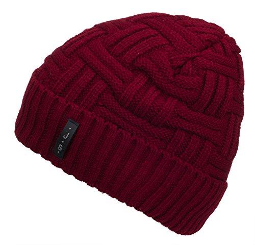 Spikerking Mens Winter Knitting Wool Warm Hat Daily Slouchy Beanie Skull Cap,Red