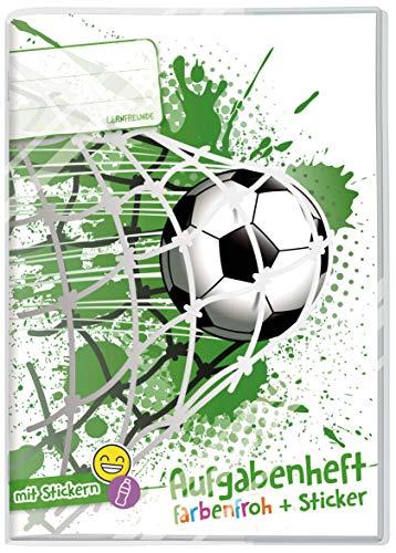Lernfreunde Aufgabenheft A5 Farbenfroh [Fußball] - Hausaufgabenheft Grundschule ohne festes Datum inkl. Schutzumschlag & Sticker!