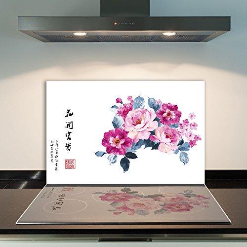 DAMU - Cubierta de vitrocerámica de 1 Pieza, 80 x 52 cm, Placas de Vidrio para Cubrir la vitrocerámica, decoración de cocinas eléctricas de inducción, protección contra Salpicaduras, Placa de Vidrio