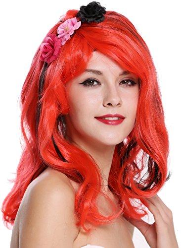 WIG ME UP- CXH-009 Peluca Mujer Carnaval Halloween Muy Lindo Longitud Media, Pelo Negro y Rojo, Salvaje, voluminoso, Flores