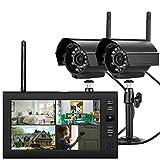 Juego de cámara de vigilancia digital TFT DVR de 7 pulgadas con monitor, cámara de vigilancia exterior con pantalla LCD inalámbrica y 2 cámaras