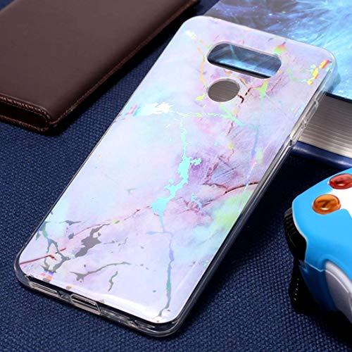 ZAORUN Funda protectora para teléfono móvil compatible con LG G6, diseño de mármol, color negro y dorado