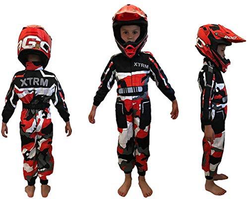 XTRM Kinder Kart Rennanzug Camo Rot – Junior Motocross Kinder Quad Dirt Bike MX Off Road Trials Go-Karting Enduro Kinder ATV MTB BMX Sport Overall Racing einteiliger Anzug