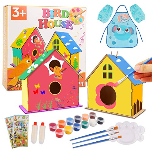 Bukm Crafts for Kids Ages 4-8, Kids Arts and Crafts, 2 Pack DIY Bird Houses Craft Kit, Wooden Birdhouse Arts Build and Paint, Kids House Supplies Party Favors for Age 3-5 6-8 8-12 Years Old Boys Girls