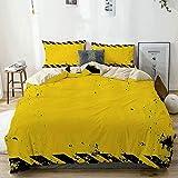 Juego de funda nórdica beige, tema de peligro, precaución, cinta de construcción, ilustración con aspecto grunge, juego de cama decorativo de 3 piezas con 2 fundas de almohada, fácil cuidado, antialér