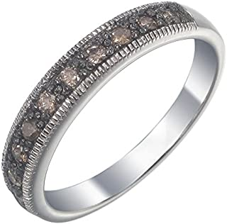 Sterling Silver Champagne Diamond Ring (1/4 CT)