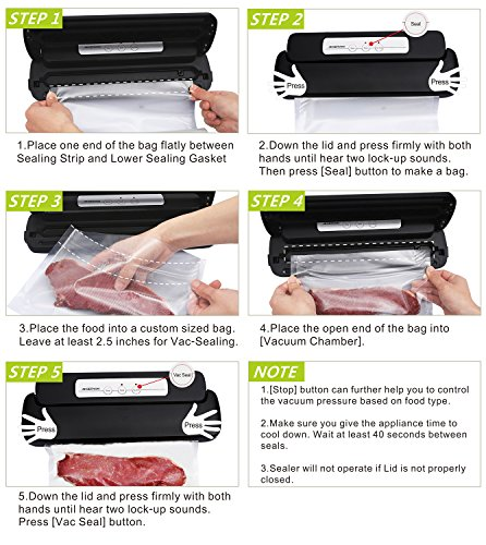GERYON Vacuum Sealer, Automatic Food Sealer Machine with Starter Bags & Roll for Food Savers and Sous Vide, Black