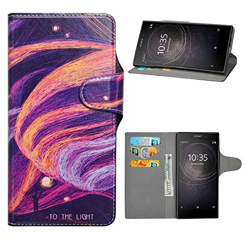 HHDY Sony Xperia L2 Leder hülle, Painted Muster Wallet Handyhülle mit Kartenfächer/Standfunktion Hülle Cover für Sony Xperia L2,Brilliant Purple