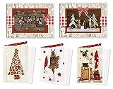 Weihnachtskarten-Set 10 Stück rot weiß natur Karten Weihnachten weihnachtlich MIT KUVERT vintage Nostalgie'alt' Weihnachtsgrußkarte OHNE TEXT