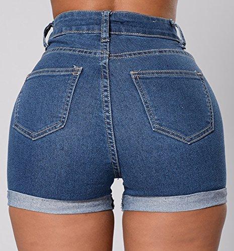 Baifern Women's High Waist Stretch Denim Shorts