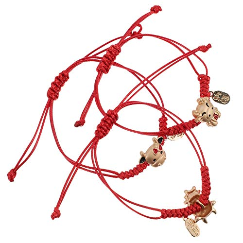 VALICLUD 3pcs 2021 Zodiac Ox Bracelet Chinese Lucky Cow Red String Rope Good Luck Symbol Jewelry Yoga Prayer Bangle Wristband for Couple BFF Gift