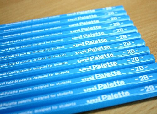 【ひらがな / カタカナ名入れ】三菱鉛筆 uni Palette ユニパレット かきかた鉛筆2B cdm-R3058K-12hon 水色軸 12本セット・パック入り