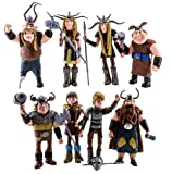 Set of 8 pcs How to Train Your Dragon Action Figures Hiccup Astrid Stoick & Ruffnut / Xmas Gift / Cake Toppers / Size: 4-5 inches