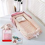 JHZYP Baby Nest, Cama Tumbona para Bebé con Almohada, Bolsa de Pañales para Bebé, Cama Plegable para Dormir, y Cápsula Portátil para Acampar Al Aire Libre, Biberones, Pañales, Ropa,Rosado