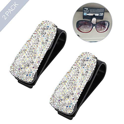 ROSON Sunglass Holder for Car Sun Visor, 2 Pack Glasses Holder Clip Hanger Eyeglasses Mount for Car with Biling Rhinestones Crystal Ticket Card Clip (White)