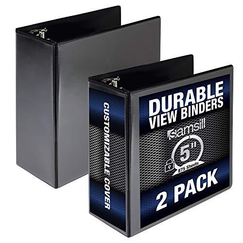 "Samsill Durable View Binder, 5"" Locking Round Ring, Bulk Binder 2 Pack, Black, Model: MP28400"