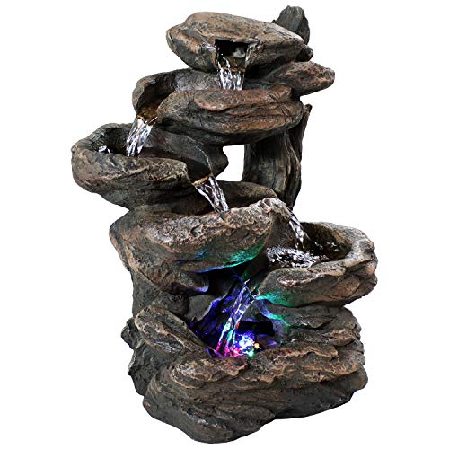 Sunnydaze 6-Tier Staggered Rock Falls Tabletop Fountain with Colored LED Lights - Natural Interior Waterfall Decorative Accent for Home or Office - 13.5-inch