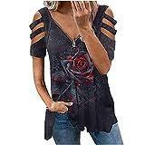 Masrin Damen T-Shirt Lässige Oberteile mit 3D-Digitaldruck Tee Tops Sommer Aushöhlen Schulterfrei Kurzarm Pullover Reißverschluss V-Ausschnitt Lose Rüschenbluse