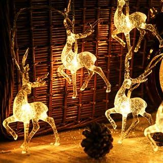 Australove Reindeer Fairy Lights, Deer LED String Light, Christmas LED Lights Fairy Lights, Battery Operated Reindeer Inte...