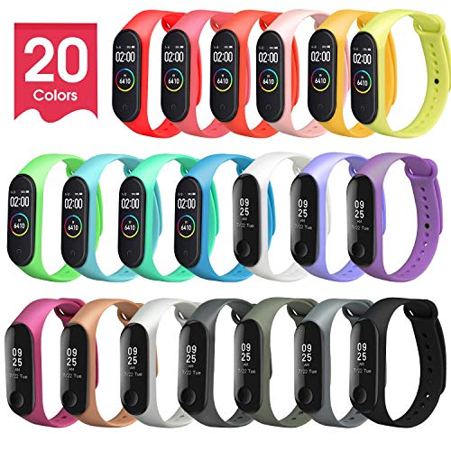 Premewish Cinturino Mi Band 3 / Mi Band 4, [20 Colori] Bracciale Cinturini di Ricambio per Xiaomi Mi Band 3/Xiaomi Mi Band 4 Cinturino di Ricambio Traspirante, Resistente al Sudore e Multicolore
