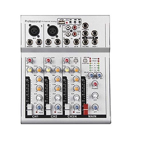 Weiming Profesional de 4 Canales Audio Mixer Studio mesas de Mezclas DJ Mixer 3 Párrafo Equilibrio de reverberación Efecto,Blanco