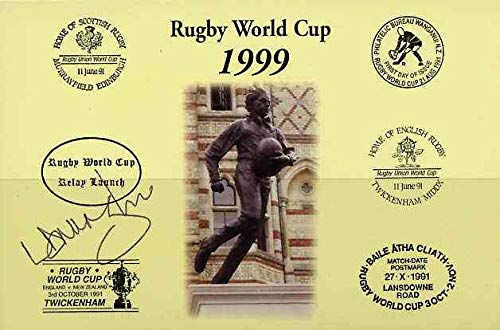 Postcard privately produced in 1999 (coloured) for the Rugby World Cup, signed by Lawrence Dallaglio (England - 47 caps & Captain, plus British Lions & Wasps) unused and pristine SPORT JandRStamps