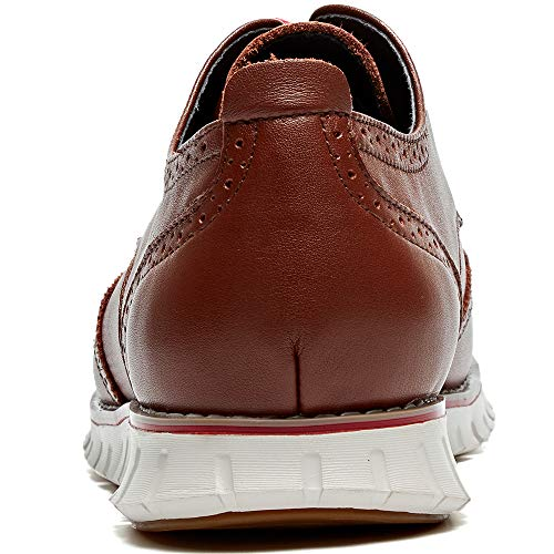 Laoks Mens Brogues Oxford Wingtip Genuine Leather Dress Shoes for Business Casual Lace-up,10.5 D(M) US,Brown
