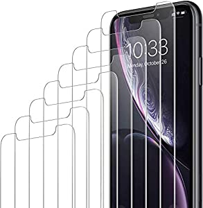 Amazon Brand - Eono [8 Pack] Tempered Glass Screen Protector Compatible with iPhone XR & iPhone 11, 6.1 Inch, Anti-Scratch Advanced HD Clarity Film, with Easy Installation Alignment Case
