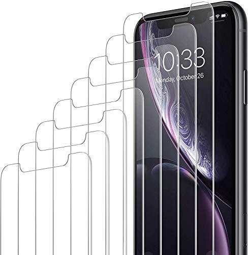 Amazon Brand - Eono [8 Pezzi] Vetro Temperato per iPhone 11 e iPhone XR (6.1 ), Pellicola Prottetiva Anti Graffio, Facile da Installare, Durezza 9H, 0,33mm Ultra Trasparente, Ultra Resistente