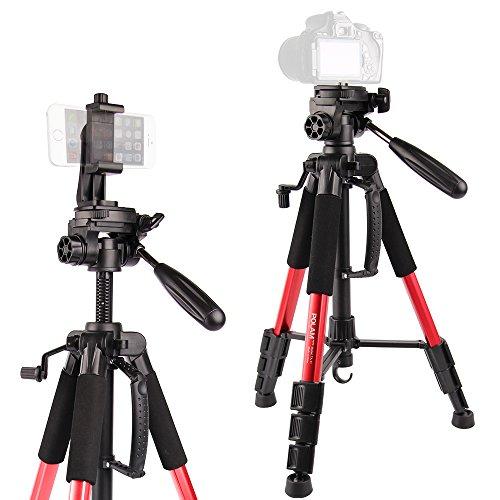 Stativ-POLAM-FOTO 140cm Fotostativ, Telefonhalter Einschließen Reisekamera Stativ mit Tragetasche f¨¹r SLR/DSLR passt mit Canon/Nikon/Sony/etc.(Rot)