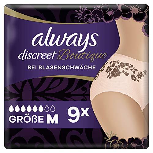 Always Discreet Boutique Inkontinenz-Höschen Gr. M (36-44) (9 Pants) feminines Design und zuverlässiger Schutz bei Blasenschwäche, Auslaufschutz und OdourLock-Technologie
