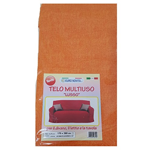 Euronovità Srl Telo arredo copridivano copriletto copritutto Arancione 170x280 cm in Cotone granfoulard 100% Made in Italy Produzione Propria EURONOVITA'