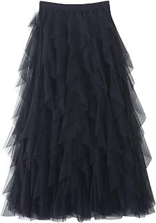DianShaoA Donna Gonna Lunga di Tulle Elastico in Vita Stile Elegante Casual Irregolare Tulle Gonna Pieghe
