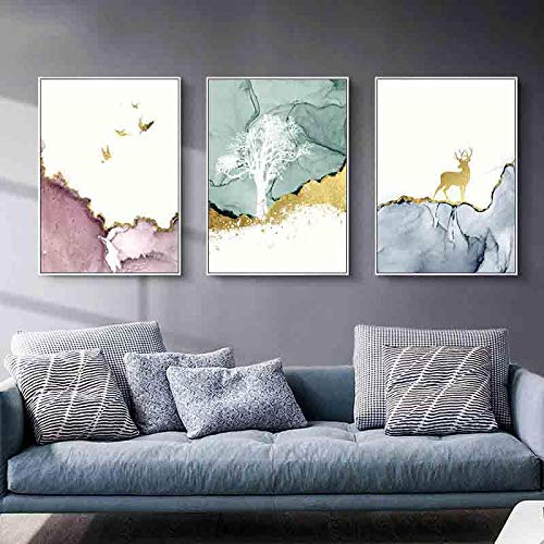 Impresión de lienzo pintura de pared cartel abstracto de montaña dorada paisaje nórdico pájaro volador imagen decorativa moderna decoración del hogar-30x40cmx3 sin marco