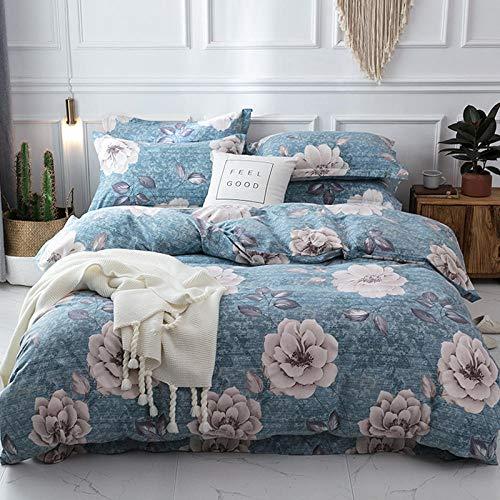 Non-Iron dekbedovertrek set, katoen fleece vierdelig pak, katoen dikke warme quilt, rimpel Fade Resistant en hypoallergeen beddengoed Set