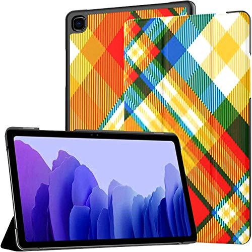 Custodia Galaxy A7 Madras Plaid Pattern Custodia arancione blu bianca per Samsung Galaxy Tab A7 Custodia protettiva da 10,4 pollici 2020 Custodia protettiva Samsung A7 Custodia Folio Custodia per tab