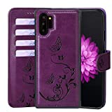 WaterFox Samsung Galaxy Note10 Plus 5G Wallet Leather Case with 2 in 1 Detachable Cover, Women's Embossed Pattern with 4 Card Slots & Wrist Strap - Purple