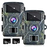 OMOTOR Trail Game Camera,2 Packs 1080P 2.0' LCD Game & Night Vision Motion Activated Hunting Camera with Low Glow and Upgraded Waterproof IP66 for Outdoor Wildlife Watching