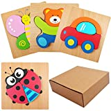 SIMUER Puzzles de Madera Educativos, 3PCS Animal Puzzle Board para Bebé, Juguetes niños, Dibujo de Animal Colorido con Placa,(Car, Bear, Butterfly, Seven-Star Ladybug Puzzle)