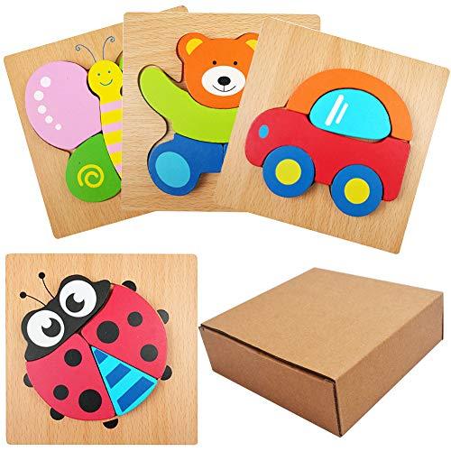 SIMUER Puzzles de Madera Educativos, 3PCS Animal Puzzle Board para Bebé, Juguetes niños, Dibujo de Animal Colorido con Placa,(Car, Bear, Butterfly, Seven-Star Ladybug Puzzle)