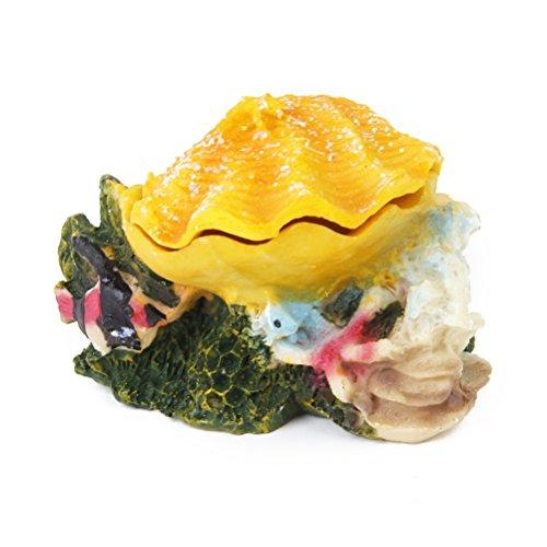 WINOMO Aquarium Ornament Fish Tank Bubbling Shell Rock Decoration (Yellow)