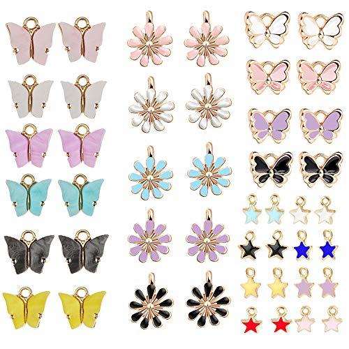 Anyasen 46 Stück Schmetterling Charm Anhänger Gänseblümchen Charm Anhänger Sterne Charm Anhänger Anhänger für Armband Ohrringe Schmetterlinge zum Basteln Schmuck Anhänger Selber Machen
